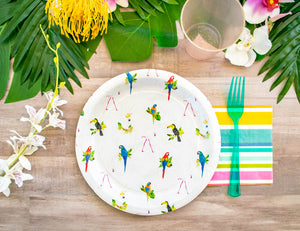 "Tropical Birds Party Plates- 9"" Wide Set of 8"