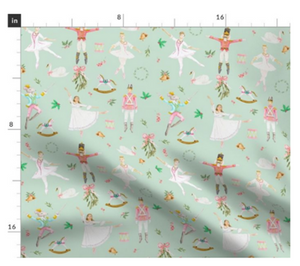 Aqua Nutcracker Ballet Fabric