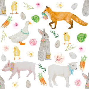 White Spring Animal Fabric