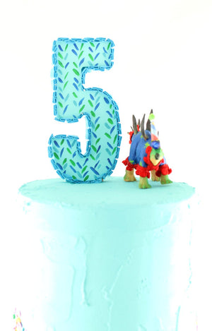 Small Party Dinosaur Set of 3  - painted birthday decoration, cake topper, room decor