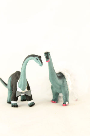 Brontosaurus Bride & Groom Wedding Cake Toppers