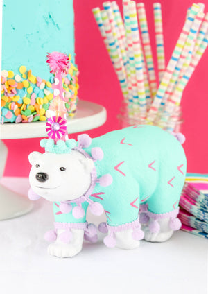 "Jumbo Party Animal ""Sam"" the Polar Bear painted carnival, circus, and birthday decor"