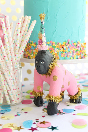 "Jumbo Party Animal  ""Ansley"" the Gorilla painted carnival, circus, and birthday decor"