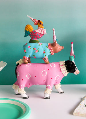 Farm Animal Set of 3- Painted animals, cake toppers, and birthday decor