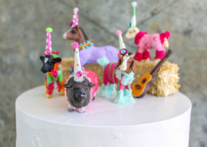 Farm Animal Set of 2- Painted animals, cake toppers, and birthday decor