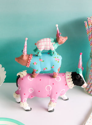 "Jumbo Party Animal ""Linda"" the Cow- cake topper, farm, and birthday decor"