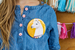 Llama Party Animal Button