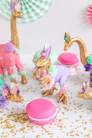 Custom Gold Party Dinosaur Set of 4 - painted birthday decoration, cake topper, room decor