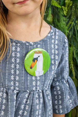 Swan Party Animal Button