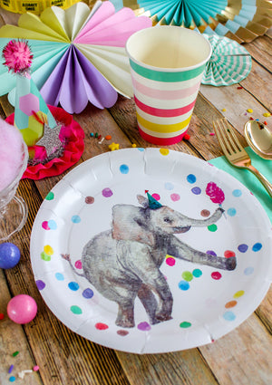 "Elephant Party Plates- 9"" Wide Set of 8"
