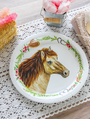 "Horse Party Plates- 9"" Wide Set of 8"