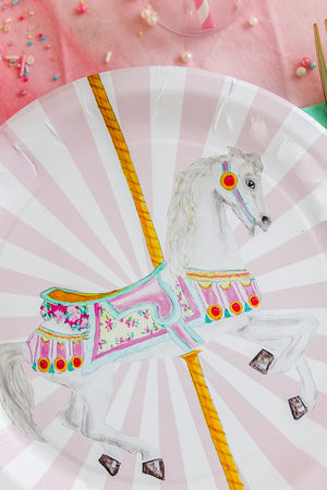 "Carousel Horse Party Plates- 9"" Wide Set of 8"