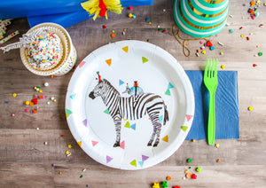"Zebra Party Plates- 9"" Wide Set of 8"
