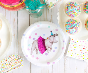 "Hippo Party Plates- 9"" Wide Set of 8"