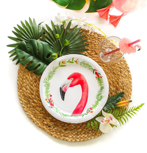 "Flamingo Party Plates- 9"" Wide Set of 8"