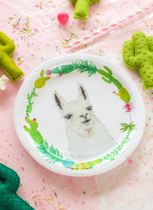 "Llama Party Plates- 9"" Wide Set of 8"