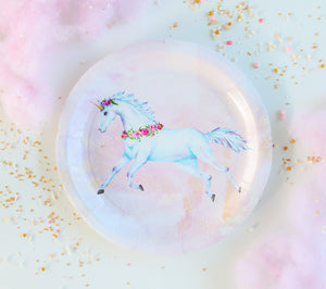 "Unicorn Party Plates- 9"" Wide Set of 8"