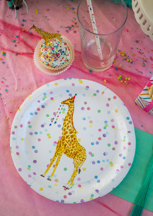 "Giraffe Party Plates- 9"" Wide Set of 8"