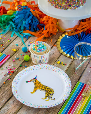 "Tiger Party Plates- 7"" Wide Set of 8"