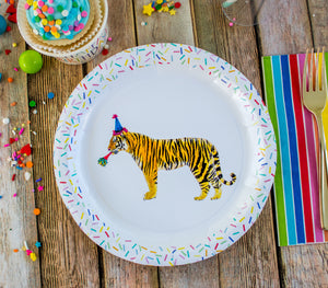 "Tiger Party Plates- 9"" Wide Set of 8"