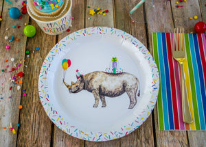 "Rhino Party Plates- 9"" Wide Set of 8"