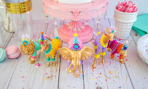 Gold Circus Animal Set of 5- Painted animals, cake toppers, and birthday decor