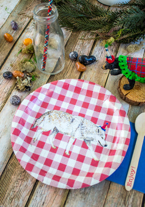 "Red Wolf Party Plates- 9"" Wide Set of 8"