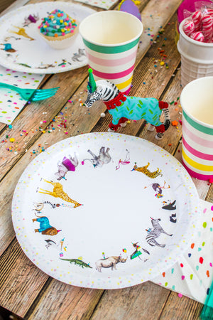 "Animal Parade Party Plates- 9"" Wide Set of 8"