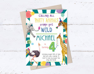 Party Animal Birthday Invitation- Teal