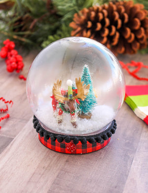 Moose Snow Globe- cake topper, Holiday decor