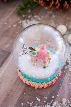 Zebra Snow Globe- cake topper, Holiday decor