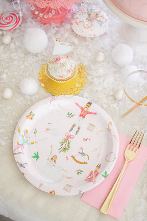 "Pink Nutcracker Party Plates- 9"" Wide Set of 8"