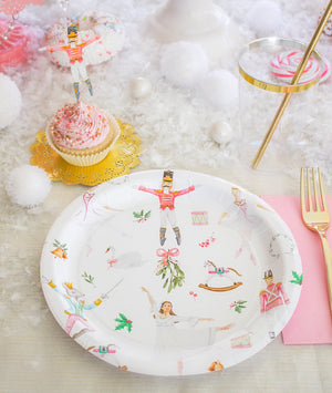 "White Nutcracker Party Plates- 9"" Wide Set of 8"