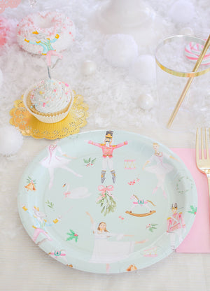 "Aqua Nutcracker Party Plates- 9"" Wide Set of 8"
