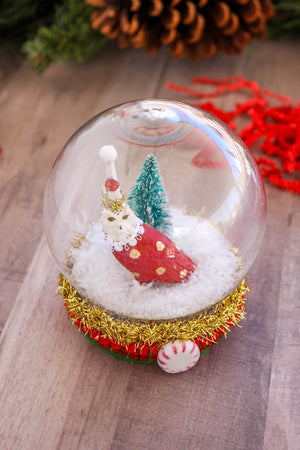 Owl Snow Globe- cake topper, Holiday decor