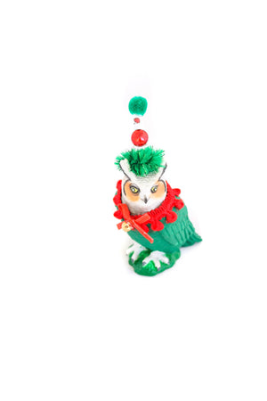 Holiday Owl- Christmas decoration, cake topper