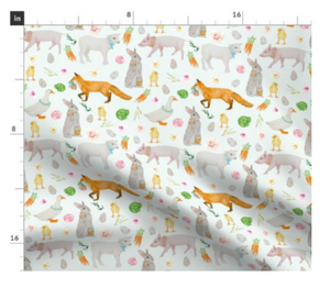 Mint Spring Animal Fabric