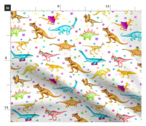 Dinosaur Parade Fabric White- By the Yard