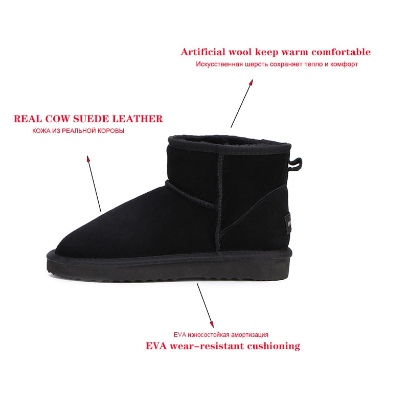 Women  Snow Boots 100% Genuine Cowhide Leather Ankle Boots