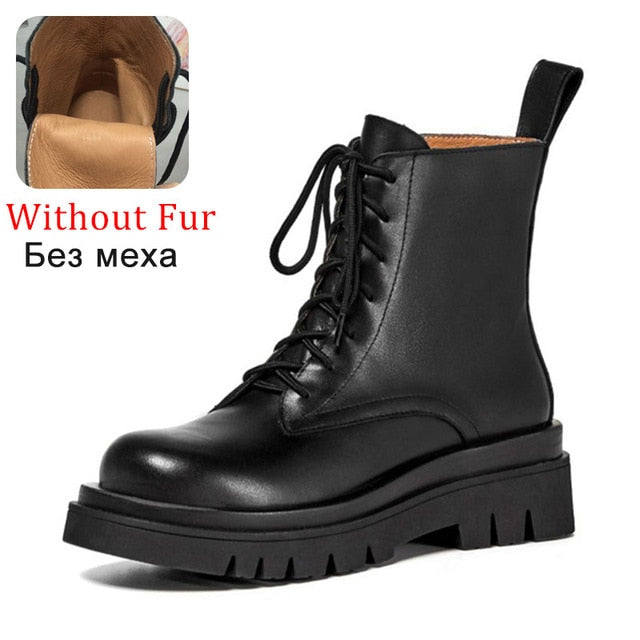 Woman Real Leather Ankle Boots Lace Up Shoes