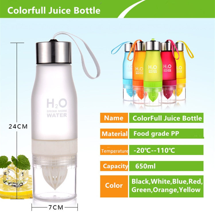 650ml H2O Lemon Juice Water Bottle Fruit Infuser BPA Free