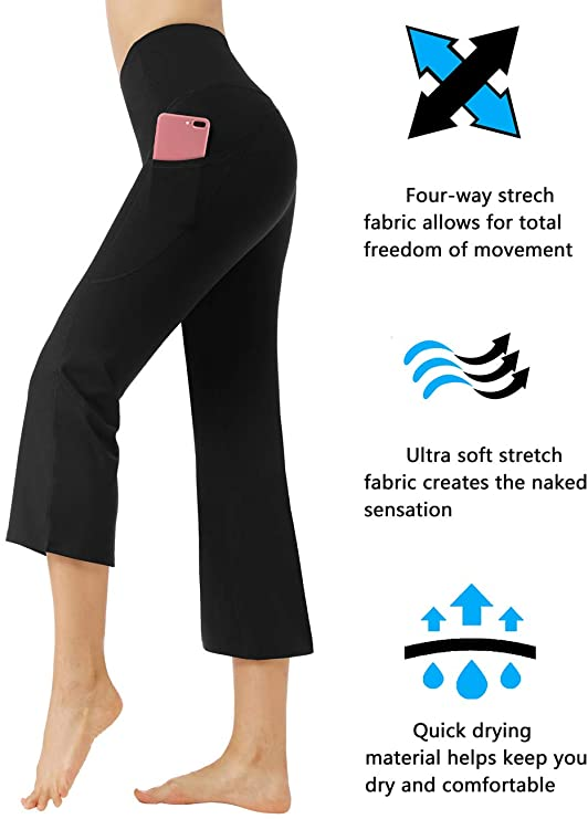 Bootcut Yoga Pants with Side Pockets High Waist