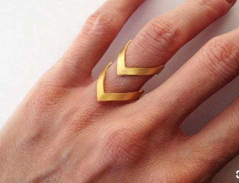 Tarnish Free- 18k Gold Double Arrow Chevron Stacking Promise Ring