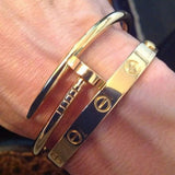 image-of-Men's-Rustic-18k-Gold-Cuff-Nail-Bracelet-Bangle-shop-at-1oakJewelry.com