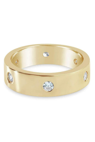 18k Gold Pave Stone Screw Ring - 1 Øak