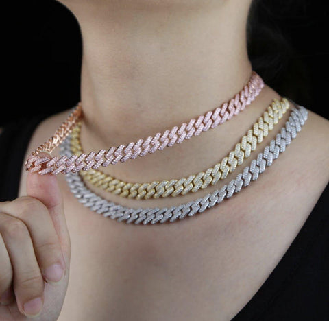 18k Gold Diamond Encrusted Iced Out Chain Choker