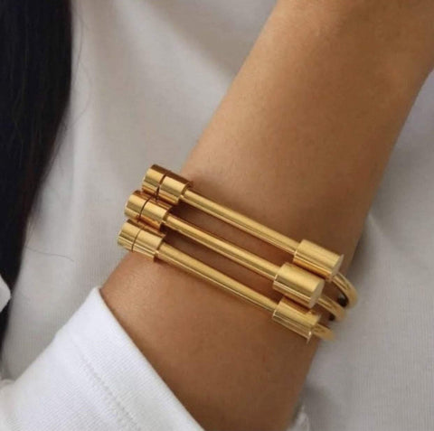 image-of-18k-Gold-Shackle-Cuff-Screw-On-Bar-Bracelet-Bangle-shop-at-1oakJewelry.com