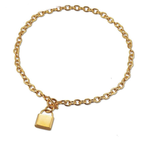 image_of_14k_Gold_Padlock_Pendant_Chain_Necklace_found_at_1oakJewelry.com