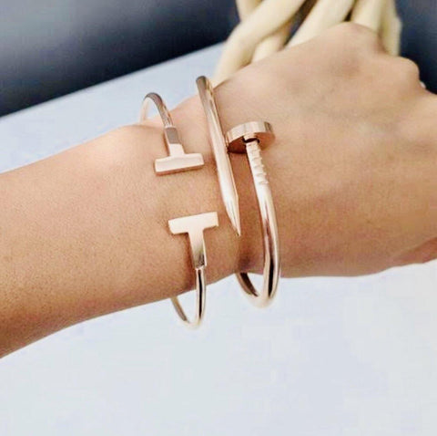 18k Gold Nail Bangle + T Cuff Bracelet Set