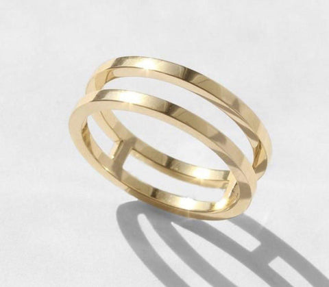18k Gold Double / Triple Bar Band Contemporary Ring